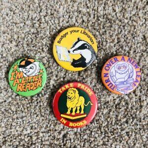 4 x VINTAGE 1980s Button Badges - Reading/Books Nerd/Geek/Preppy/Swat/Studytube