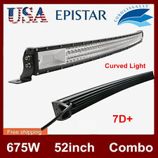 """Curved 52""""inch 675W LED Work Light Bar Combo Driving Off road SUV Car Boat SLIM"""