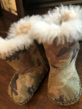 UGG Australia Baby Infant Toddler Brown Camouflage Print Fleece Suede Boots Sz 5