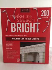 Living Solutions 200 Multicolor Icicle Lights Nib