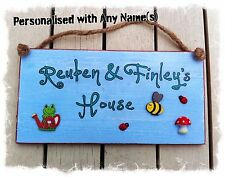 Blue Wooden Playhouse Sign Plaque PERSONALISED Childs Childrens Name - handmade