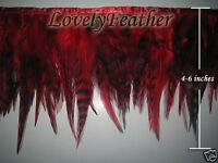 Saddle hackle feather fringe of red chinchila color 2 yards trim