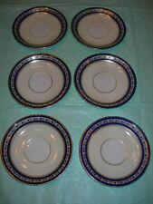 6 Lenox G372B (Cobalt Blue / Gold Border / Cream Rim) Saucers (circa 1932)!