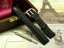 18mm Black/Yellow Leather Replacement Watch Strap + Spring Bar Remover Tool