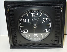 BULOVA BLACK ALARM CLOCK WITH  ALUMINIUM GRID PANELS, OVERSIZED HANDLES  B6845
