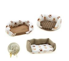 Miniature 3 PC Paw Print Cat Beds ~ Dollhouse Accessories & Craft Supplies