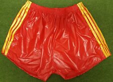 Retro PU Nylon Football Shorts S to 4XL, Red - Gold
