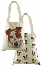 EVANS LICHFIELD MADE IN UK TOTE CLOTH SHOPPING BAG JACK RUSSELL BROWN PUPPY DOG