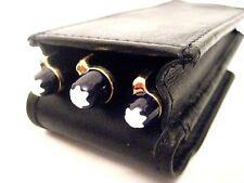 Black Leather Triple Magnetic Flap Pen Case/Pouch