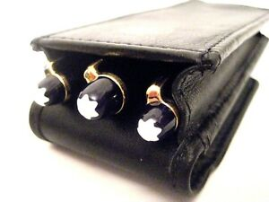 Black Triple Magnetic Flap Pen Case, Pen Pouch. Real Leather quality hand made