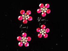 Mini Bridal Flower Rhinestone Crystal Hair Clip Claw Wedding Rose Red
