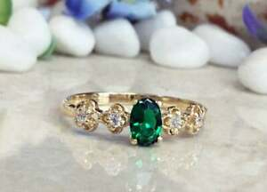 2.3Ct Oval Cut Green Emerald Halo Diamond Engagement Ring 14K Yellow Gold Finish