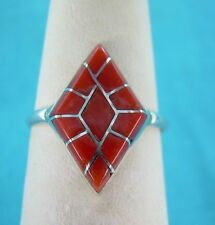 NAVAJO  NATIVE AMERICAN CORAL CHANNEL INLAY RING SIZE 7 1/2 STERLING