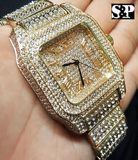 Mens Rick Ross Gold PT Full Iced Out Bling Hip Hop Lab Simulated Diamonds Watch