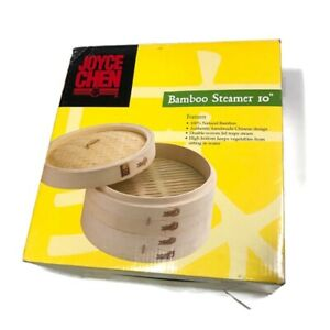 "NEW Joyce Chen 10"" Natural Bamboo Steamer with Woven Lid, 10"" D x 6"" H (26-0013)"