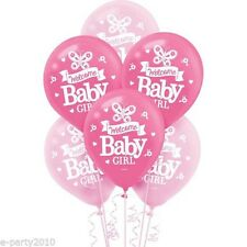 WELCOME LITTLE GIRL LATEX BALLOONS (15) ~ Baby Shower Party Supplies Decorations