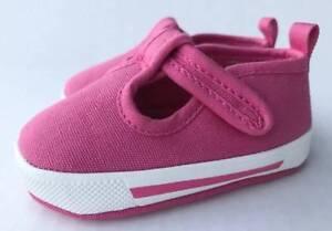 Baby Deer Fuchsia Canvas T-Strap Sneaker  Size 0 1 2 3