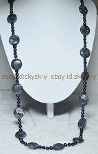 "Huge 20mm Coin Labradorite Gems Beads & 6-7MM Natural Black Pearl Necklaces 36"""