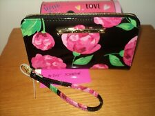 NEW Betsey Johnson Zip Around Black Floral Faux Patent Leather Wallet