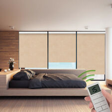 100% Blackout Remote Control Motorized Window Roller Shade Blind, Brown