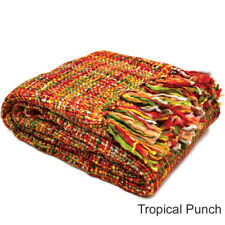 Rans Oslo Knitted Weave Throw Rug Bed Runner Blanket 127cm x 152cm - 10 Colours