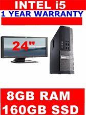 "DELL i5 COMPUTER PC i5 2400 @3.10ghz 8GB RAM 24"" WIDESCREEN TFT 160GB SSD"
