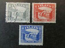 ICELAND, SC# 170-172, GULLFOSS WATERFALL (1931)