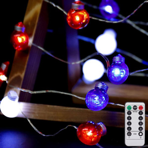 Red White and Blue Lights String Lights, 30 LEDs 4th of July Lights Battery of