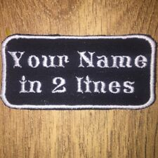 Rectangular 2 Line Custom Personalised Embroidered Biker Sew on Name Tag Patch