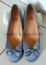 MOSCHINO CHEAP & CHIC Periwinkle Blue Silk Satin Ballet Flats w/ butterfly bow