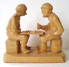 Caron Carving Vintage Sculpture Wood Checkers Game Folk Art Canadian Artwork