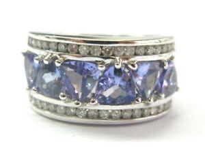 Natural Trillion Cut Tanzanite Diamond White Gold WIDE Jewelry Ring 14Kt 4.00Ct