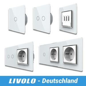 LIVOLO Touch Glas Lichtschalter Steckdosen Taster TAE Dose Wechselschalter Weiß
