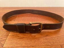 Vintage CAT Brown Leather Belt w/ Brass Buckle size 37