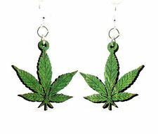 Hemp Leaves Marijuana Weed Wood Earrings Woman Fashion Jewelry Women MADE IN USA