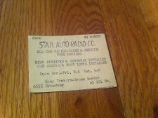 vintage business card STAR AUTO RADIO C.C. Yonkers Bronx New York Sales Service