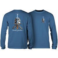 Powell Peralta Skateboard Long Sleeve Shirt Skull and Sword Slate Blue