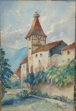 M.L. Lacour - Ammerschwihr - Aquarelle sur papier signée en bas à droite