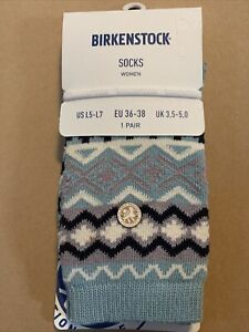 NEW Birkenstock Crew Socks Womens Size 5-7 Small/Med Cotton Abyss