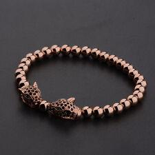 Men's Rhodium Plated Zircon Panther Leopard Head Rose Gold Beaded Bracelets