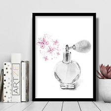 FASHION Grey Perfume Bottle Pink Butterflies Art PRINT Picture Poster Wall Art *