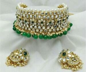 Indian Gold Plated Choker Bridal Wedding Kundan Jewelry Necklace Earrings SetTan