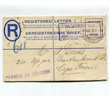 Union of South Africa 1915 German P.O.W. Registered Letter Passed Censor