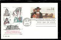US SC # UX112 Settling Of Rhode Island Postal Card FDC. Artmaster Cachet