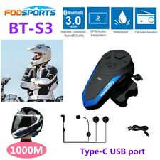 BT-S3 1000m Bluetooth Motorcycle Helmet Intercom BT Motorbike Headsets Intercom