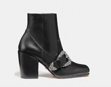 "COACH ""WESTERN BUCKLE"" BOOTIE IN BLACK LEATHER - WOMENS US SIZE 9.5"