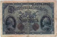 1914 Germany  Empire  Kaiser WW1 5 Mark Banknote