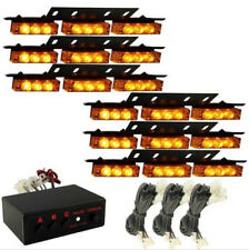 54 Yellow/AMBER LED Emergency Warning Strobe Lights Bars Car Deck Dash Grille