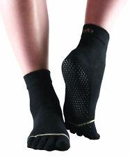 ToeSox Full Toe Ankle Pilates Yoga Dance Martial Arts Non Slip Exercise Socks Black XL