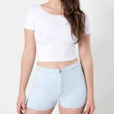 NWT American Apparel Women's Easy Riding Shorts Light Wash Size LARGE #1